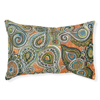 orange paisley dog bed