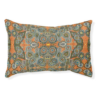 orange paisley pattern dog bed