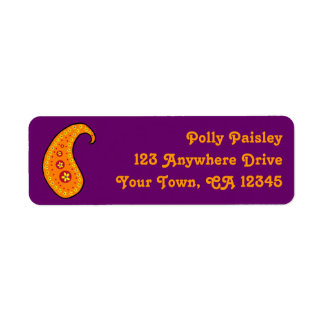 Orange Paisley Return Address Label
