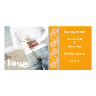 Orange Paisley Save the Date Photo Card Template
