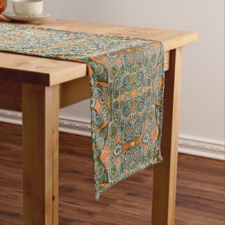orange paisley table runner