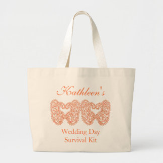 Orange Paisley Wedding Day Survival Kit Bag