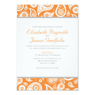 Orange Paisley Wedding Invitations