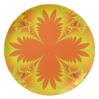 Orange Palm Fronds  Melamine Plate