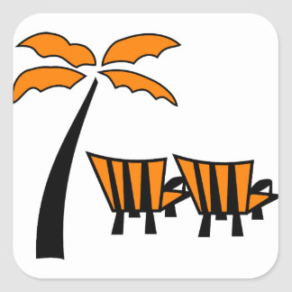Orange Palm Tree with Orange Chairs Square Sticker