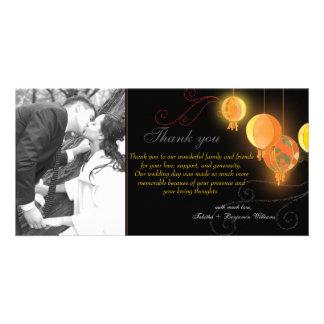 Orange Paper Lanterns + Swirls Wedding Thank You Personalized Photo Card