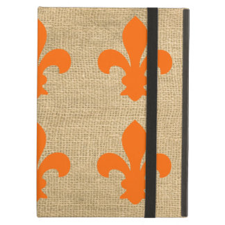 Orange Parisian Moods Fleur de Lys Pattern Cover For iPad Air