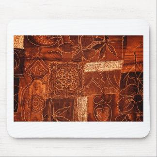orange patchwork fabric mouse pad