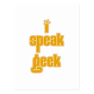 Orange Pattern I Speak geek Postcard
