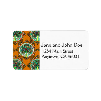 Orange Patterned Tree of Life Address Label