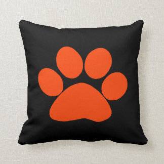 Orange Paw Print Pillow