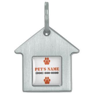 Orange Paw Prints Pet ID Tag
