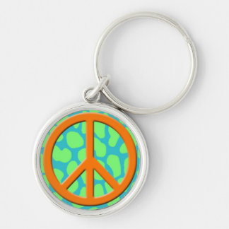 Orange  Peace Sign on Colorful Animal Pattern.jpg Silver-Colored Round Key Ring