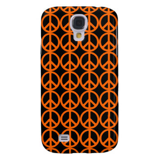 Orange Peace Sign Pattern Galaxy S4 Cover