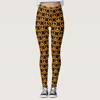 Orange Peace Signs Leggings