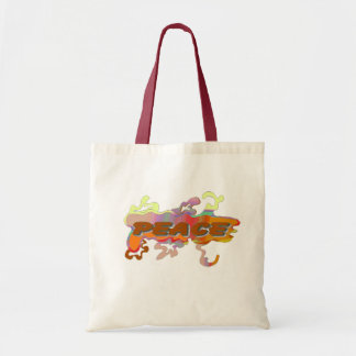 orange peace tote canvas bags