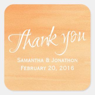Orange Peach Watercolor Wedding Couple Thank You Square Sticker