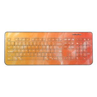 Orange Peach Yellow Ombre Watercolor Brushstroke Wireless Keyboard