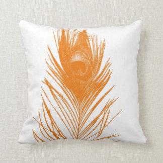 Orange Peacock Feather Throw Pillow