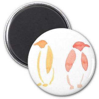 Orange Penguins 6 Cm Round Magnet