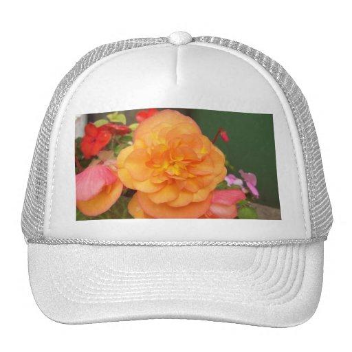 Orange Peony Cap Mesh Hat