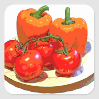 ORANGE PEPPERS, RED TOMATOES SQUARE STICKER
