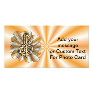 Orange Personalizable Treble Clef Music Art Personalized Photo Card