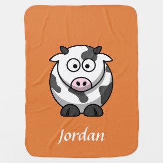 Orange Personalized Cow Blanket Baby Blanket