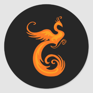 Orange Phoenix Classic Round Sticker