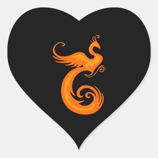 Orange Phoenix Heart Stickers