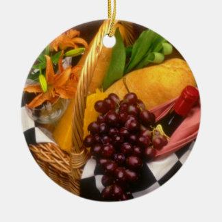 Orange Picnic basket with wine, cheese, bread and Ceramic Ornament