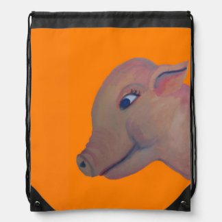 orange pig drawstring backpack