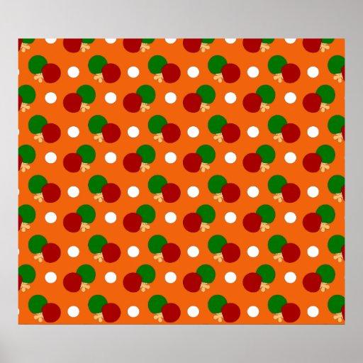 Orange ping pong pattern posters