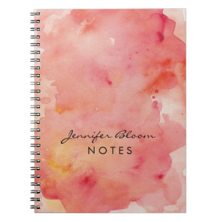 Orange, Pink and Red Watercolor Notebook