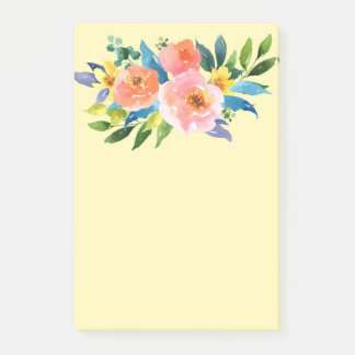 Orange, Pink and Yellow Flowers Post it Note