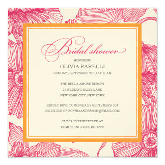 ORANGE + PINK FLOWERS | BRIDAL SHOWER INVITE