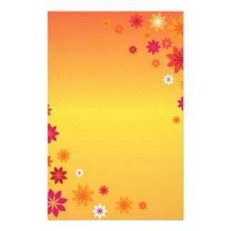 Orange Pink Flowers Custom Stationery Letterhead