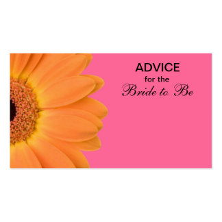 Orange Pink Gerber Daisy Advice for the Bride Business Card