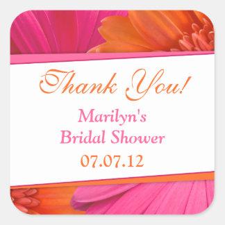 Orange Pink Gerbera Daisy Bridal Shower Thank You Square Sticker