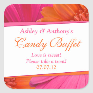 Orange Pink Gerbera Daisy Floral Candy Buffet Square Sticker