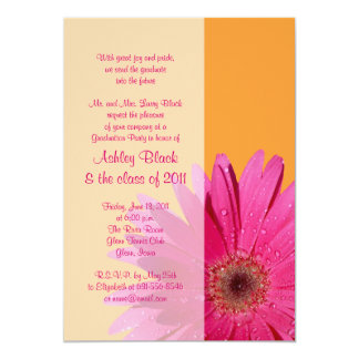 Orange Pink Gerbera Daisy Graduation Invitation