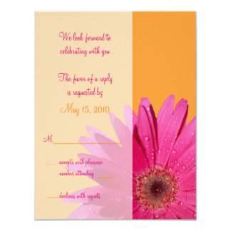 Orange & Pink Gerbera Daisy Wedding Response Card 11 Cm X 14 Cm Invitation Card