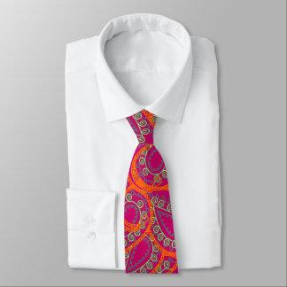 Orange Pink Paisley Peacock Colors Wedding Tie