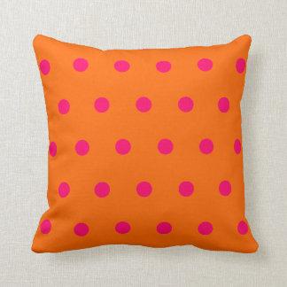 Orange Pink Polka Dots Throw Cushion