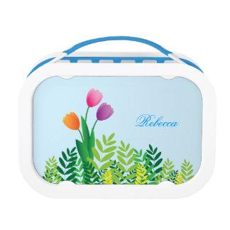Orange Pink Purple Tulips & Vegetation Personalize Lunchbox