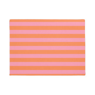 Orange Pink Summer Mood Lines  Door Mat