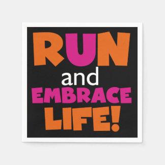 Orange Pink Text Fitness Running Runner Marathon Disposable Serviette