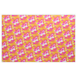 Orange Pink White Butterfly Pattern Fabric