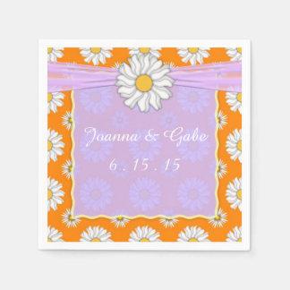 Orange Pink White Daisy Floral Wedding Napkins Disposable Serviettes