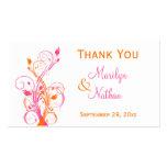 Orange Pink White Floral Wedding Favour Tag